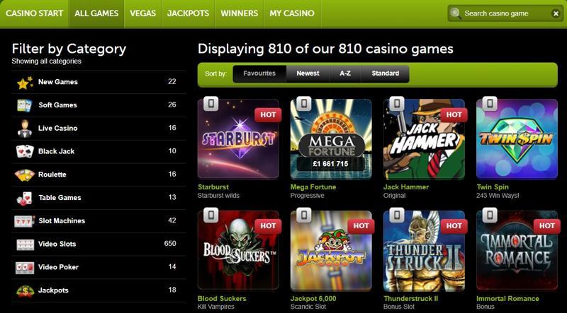 ComeOn Casino Games