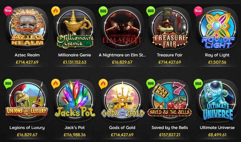 Jackpot games at 888 Casino